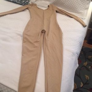 Capezio nude full body long sleeve unitard size XL